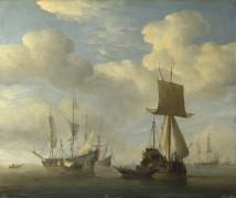 Английское судно и голландские суда во время штиля - Велде, Виллем ван де (Младший)
