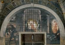 Станца Илиодора: Освобожюдение святого Петра из темницы - Рафаэль, Санти