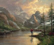 Пейзаж с рыбаком на горной реке - Кинкейд, Томас