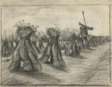 Пшеничное поле со снопами и мельницей (Wheatfield with Stooks and a Mill), 1885 - Гог, Винсент ван