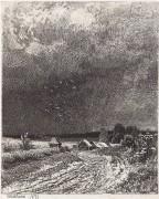 Перед грозой (офорт), 1873 - Шишкин, Иван Иванович