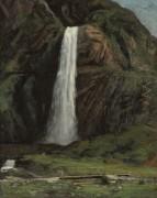 Пейзаж с водопадом в горах - Курбе, Гюстав