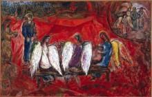 Авраам и три ангела - Шагал, Марк Захарович