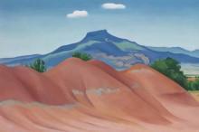 Красные холмы с Педернал, белые облака - О'Кифф, Джорджия