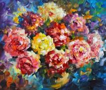 Розовые цветы - Афремов, Леонид (20 век)
