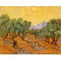 Оливковые деревья с желтым небом и солнцем - Гог, Винсент ван