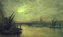 Лунная ночь на Темзе с Саутуоркским мостом - Гримшоу, Джон Аткинсон