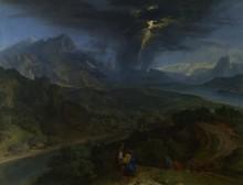Горный пейзаж с молнией - Милле, Жан-Франсуа