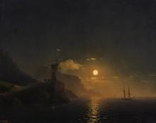 Часовня на берегу моря лунной ночью - Айвазовский, Иван Константинович