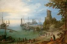 Сценка в порту с рыбаками - Брейгель, Ян (Старший)