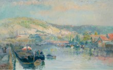 Парусная лодка на берегу Сены близ Руана - Лебург, Альберт
