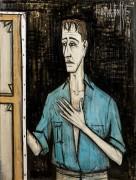Автопортрет на черном фоне - Бюффе, Бернар