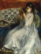 Девушка в белом за чтением, 1873 - Ренуар, Пьер Огюст
