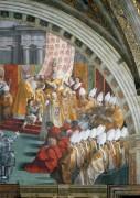 Станца Пожар в Борго: Коронация Карла Великого Папой Львом III на Рождество 799 года (фрагмент) - Рафаэль, Санти