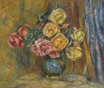 Розы в голубой вазе - Ренуар, Пьер Огюст