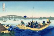 Заход солнца, мост Риогоку - Кацусика, Хокусай