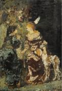 Две женщины с собакой - Монтичелли, Адольф