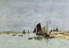 Этапль, лодки в порту, 1876 - Буден, Эжен