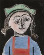 Девушка с косичками в зеленой шляпке - Пикассо, Пабло