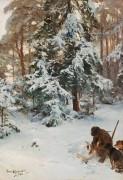 Зимний пейзаж с охотником и собаками - Лильефорс, Бруно