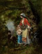 Цыганка с девочкой в лесу - Диас де ла Пенья, Нарсис