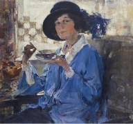 Чай в Санта-Монике (Портрет миссис Краг), 1923 - Фешин, Николай Иванович