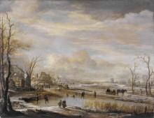 Замерзшая река с пешеходным мостом - Нер, Арт ван дер