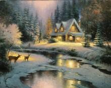 Пейзаж с оленями у ручья - Кинкейд, Томас