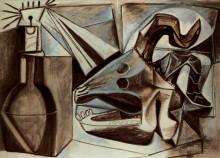 Череп козла, бутылки и свечи - Пикассо, Пабло
