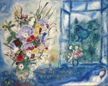 Букет цветов у окна - Шагал, Марк Захарович