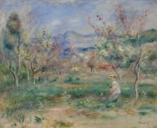 Пейзаж с женщиной в цветущем саду - Ренуар, Пьер Огюст