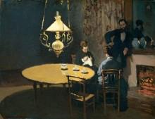 Интерьер после ужина, 1868-1869 - Моне, Клод