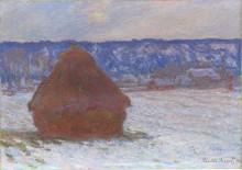 Стог пшеницы, эффект снега - Моне, Клод