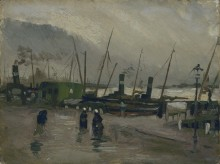 Причал с судами в Амстердаме (Quayside with Ships in Amsterdam), 1885 - Гог, Винсент ван