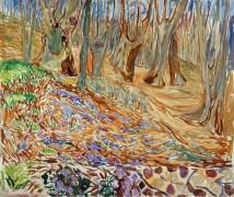 Весенний пейзаж с вязами - Мунк, Эдвард