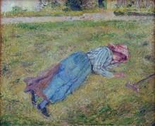 Крестьянская девушка, отдыхающая на траве - Писсарро, Камиль
