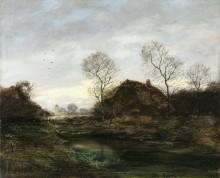 Вечерний пейзаж с хижиной у пруда - Дюпре, Жюль