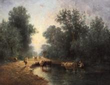 Пейзаж с коровами на водопое - Труайон, Констан