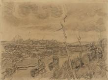 Пейзаж с фигурами, толкающими тачки (Landscape with Figures Pushing Wheelbarrows), 1890 - Гог, Винсент ван