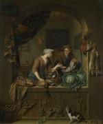 Женщина и продавец рыбы - Мирис, Виллем ван