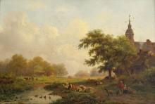 Пейзаж с пастухами близ деревни - Круземан, Фредерик Маринус