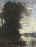 Лодочник с женщиной и ребенком, отплывающие от берега - Коро, Жан-Батист Камиль