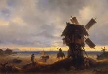 Ветряная мельница на берегу моря - Айвазовский, Иван Константинович