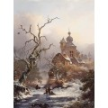 Идиллический зимний пейзаж со сборщиками хвороста близ замка - Круземан, Фредерик Маринус