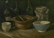 Натюрморт с тремя бутылками и глиняной посудой (Still Life with Three Bottles and Earthenware), 1884-85 - Гог, Винсент ван