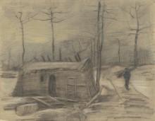 Зимний пейзаж с хижиной и фигурой (Winter Landscape with Hut and Figure), 1881 - Гог, Винсент ван