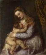 Мадонна, кормящая Младенца Иисуса - Тициан Вечеллио
