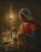 Швея с ребенком в свете свечи - Милле, Жан-Франсуа