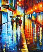 Дождливая ночь в городе - Афремов, Леонид (20 век)