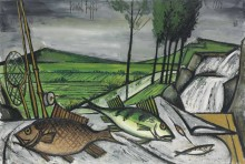 Натюрморт с карпом и окунем на фоне пейзажа - Бюффе, Бернар
